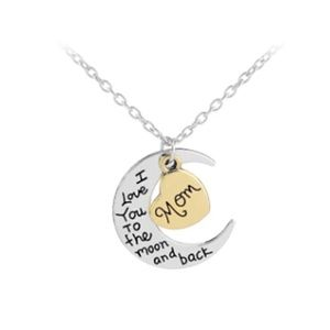 Jewelry - MOM Love To Moon & Back 2-Tone Pendant Necklace